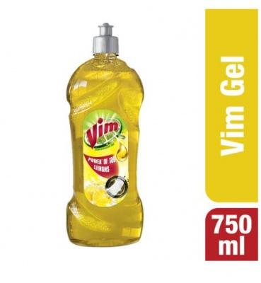 Vim Lemon Concentrated Dishwash Gel 750 ml