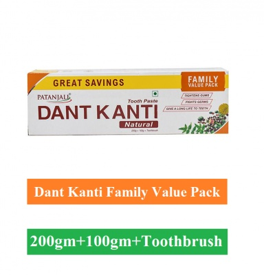 Patanjali Dant Kanti Toothpaste - Natural (With 1 Toothbrush), 300g Combo Pack